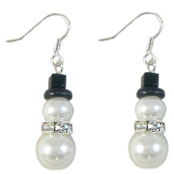 Glass Pearl Snowman Earrings: Project Instructions