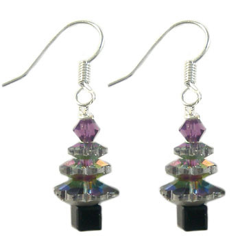 Green AB Glass Crystal Christmas Tree Earrings: Project Instructions