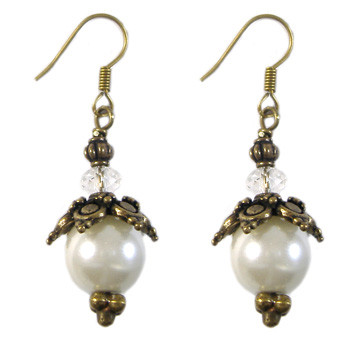 ​Bronze Glass Pearl Earrings: Project Instructions