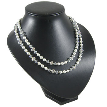 Elegant White/Crystal Two Strand Necklace: Project Instructions
