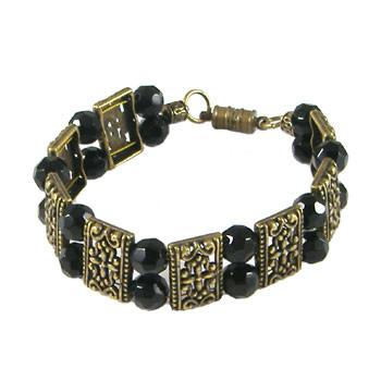 Black/Bronze 2 Strand Bracelet: Project Instructions