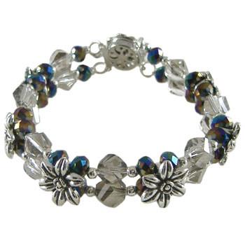 2 Strand Black/Grey Flower Bracelet: Project Instructions