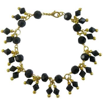 Black & Golden Crystal Charm Bracelet: Project Instructions