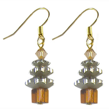 Beige Christmas Crystal Earrings: Project Instructions