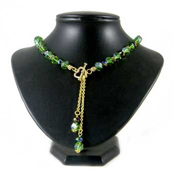 Green and Black Crystal Chain Drop Necklace: Project Instructions