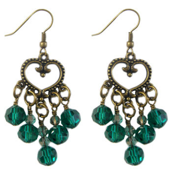 Teal Heart Drop Earrings: Project Instructions