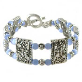 Blue Cats Eye 2 Strand Bracelet: Project Instructions