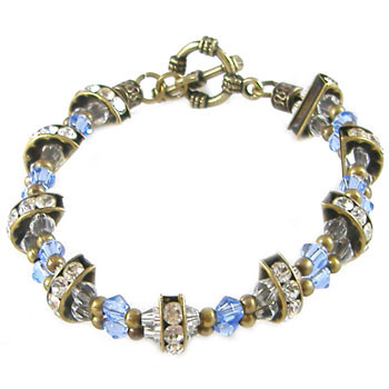 Blue and Bronze Diamante Spacer Bracelet: Project Instructions
