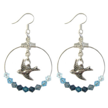 Swarovski Blue Bird Earrings: Project Instructions