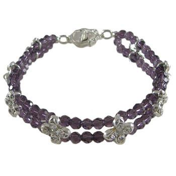 2 Strand Purple/Black Flower Bracelet: Project Instructions