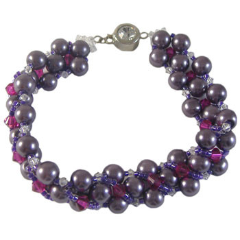Purple Pearl & Fuchsia Seed Bracelet: Project Instructions