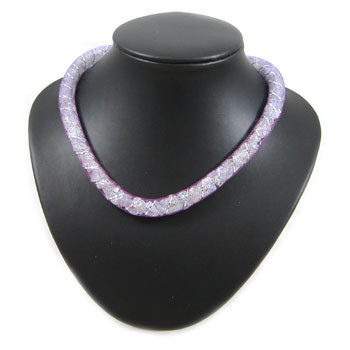 Simple Crystal Purple Wire Mesh Tubing Necklace: Project Instructions