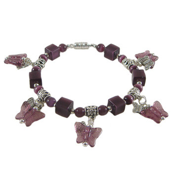 Rose Purple Butterfly Dangle Bracelet: Project Instructions