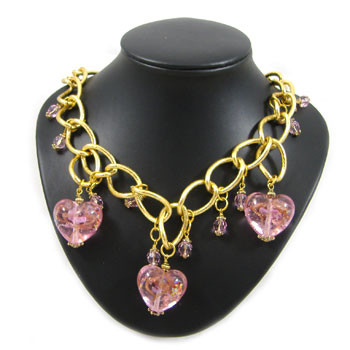 Pink Heart Chain Necklace: Project Instructions