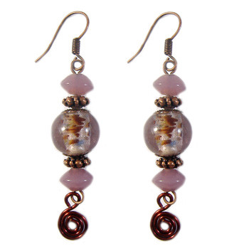 Rose Purple Swirl Earrings: Project Instructions