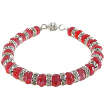 Red Diamante Rondelle Bracelet: Project Instructions