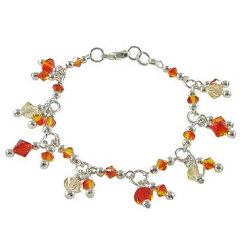Yellow and Orange Swarovski Charm Bracelet: Project Instructions