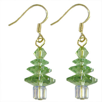 Peridot Swarovski Christmas Crystal Earrings: Project Instructions