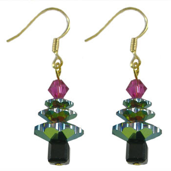 Vitrail Swarovski Christmas Crystal Earrings: Project Instructions
