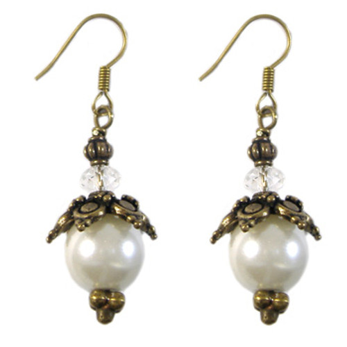 Bronze Glass Pearl Earrings: Project Instructions
