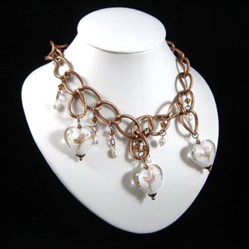 Copper & White Heart Chain Necklace: Project Instructions