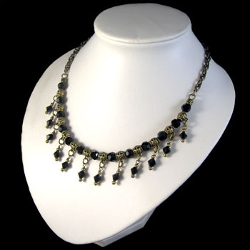 Black Crystal Drop Necklace: Project Instructions