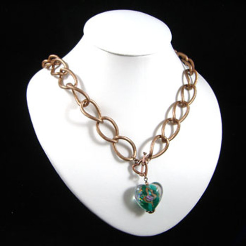 Copper & Teal Heart Chain Necklace: Project Instructions