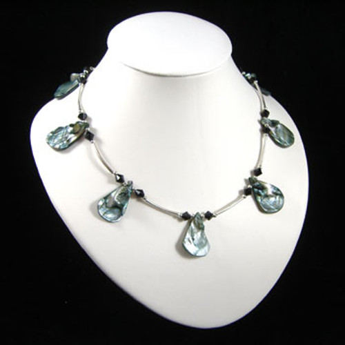 Grey/Blue Tear Drop Shell Necklace: Project Instructions