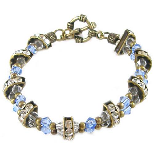 Blue and Bronze Diamante Spacer Bracelet: Project Instructions
