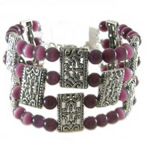 Rose Purple Cats Eye 4 Strand Bracelet: Project Instructions