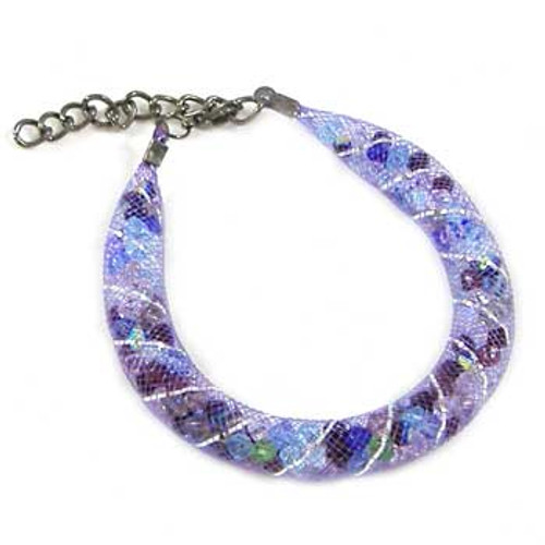 Crystal Purple Wire Mesh Tubing Bracelet: Project Instructions