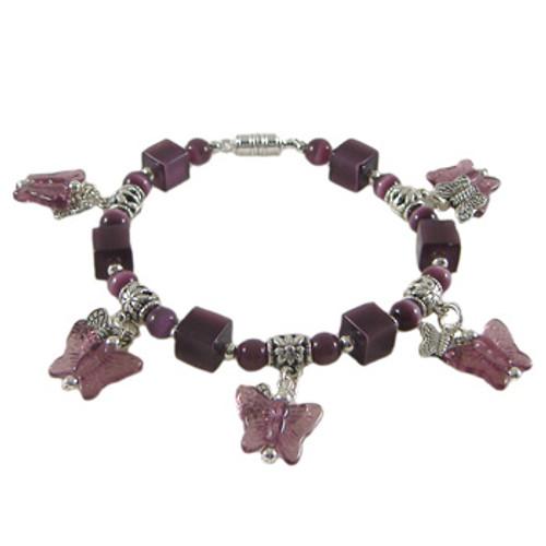 Rose Purple Butterfly Dangle Bracelet: Project Instructions