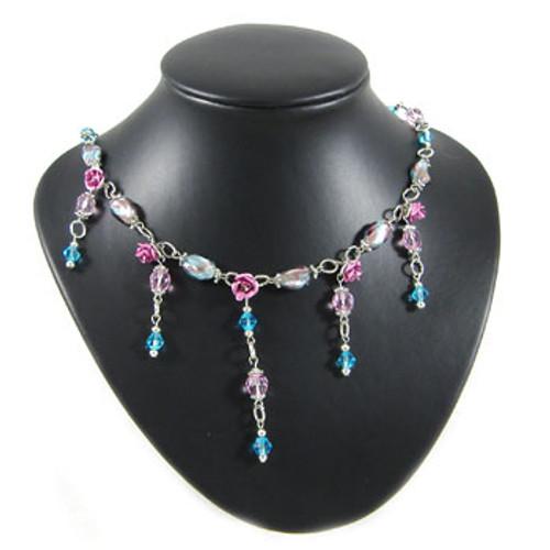 Pink/Blue Flower Drop Necklace: Project Instructions