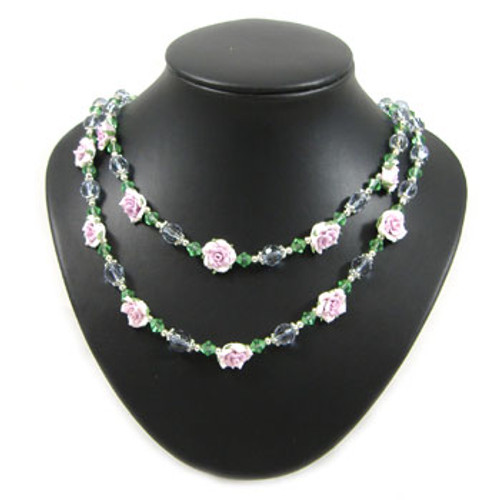 Green Crystal/Purple Clay Flower Two Strand Necklace: Project Instructions
