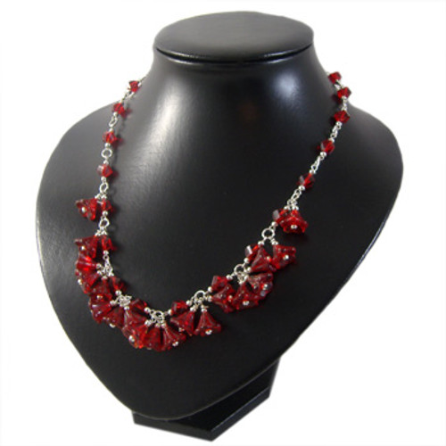 Red Flower Drop Necklace: Project Instructions