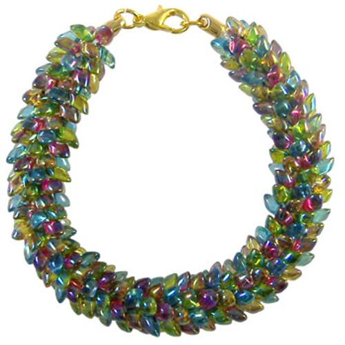 Pattern: Vintage Rainbow Magatama Beaded Round Kumihimo Braid