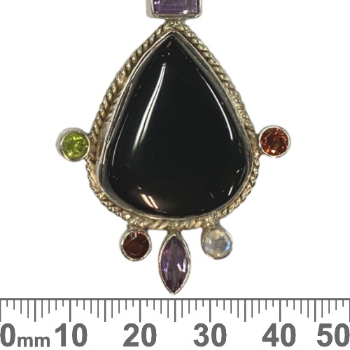 Onyx Teardrop with Gems Sterling Silver Pendant