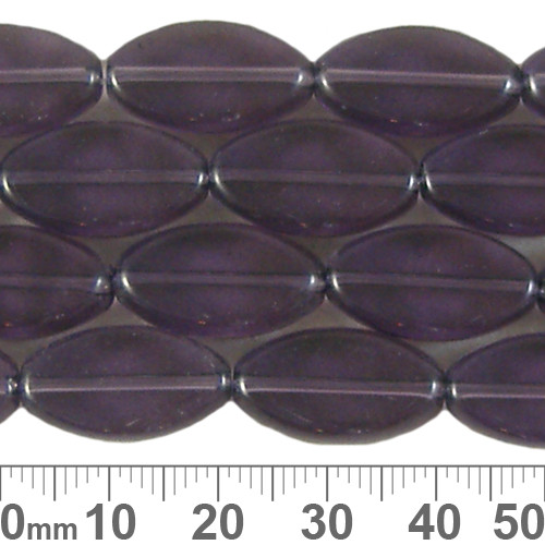 18mm Flat Oval Purple Glass Bead Strands