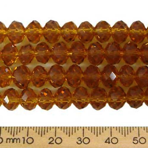 Dark Amber 8mm Rondelle Glass Crystal Strands