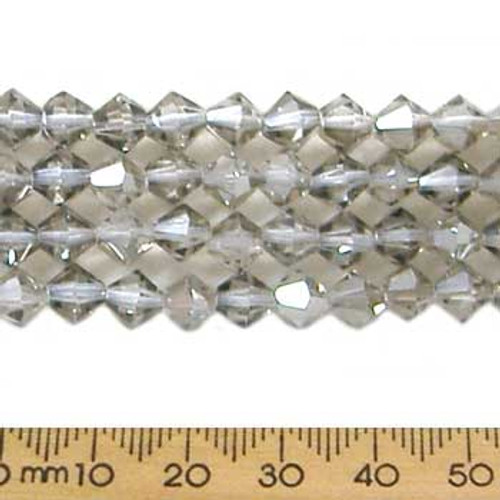 Smoky Quartz Grey 6mm Bicone Glass Crystal Strands