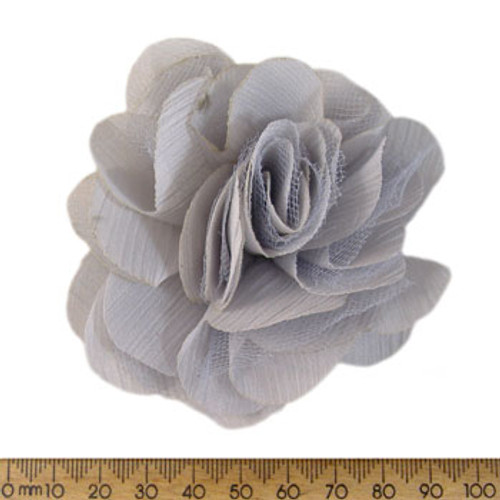 70mm Pale Grey Fabric Flower