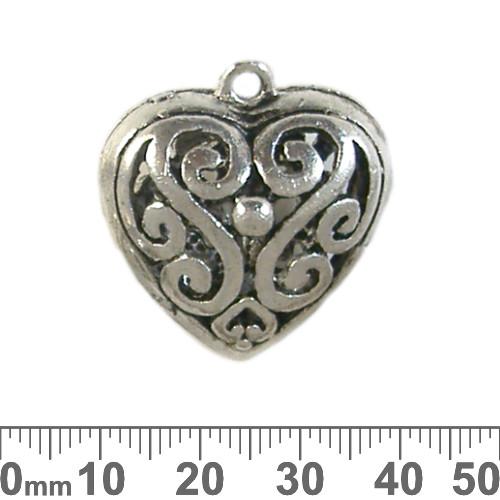 Base Metal Bali Style Heart Pendant