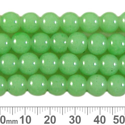 8mm Round Pastel Green Glass Bead Strands