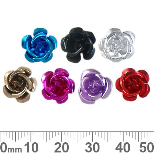 BULK 11mm Colourful Metal Rose