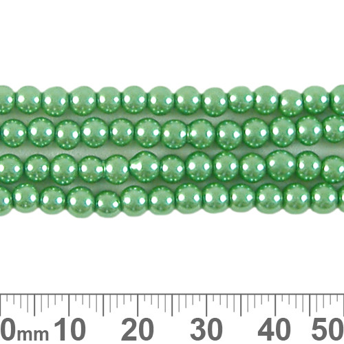 CLEARANCE 4mm Medium Green Glass Pearl Strands
