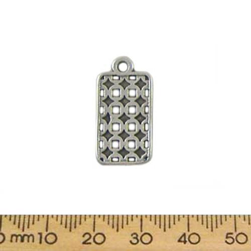 BULK 23mm Rectangular Tag Metal Charms