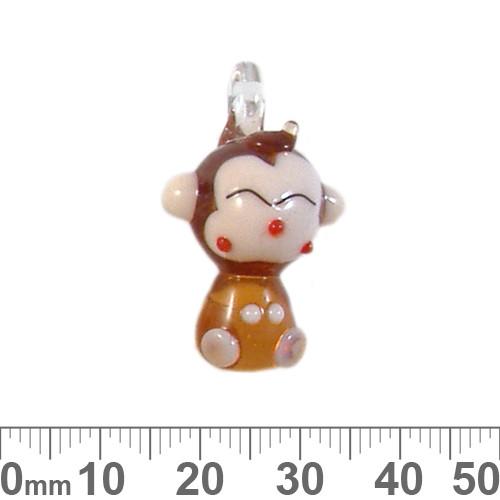 Brown Monkey Glass Charm