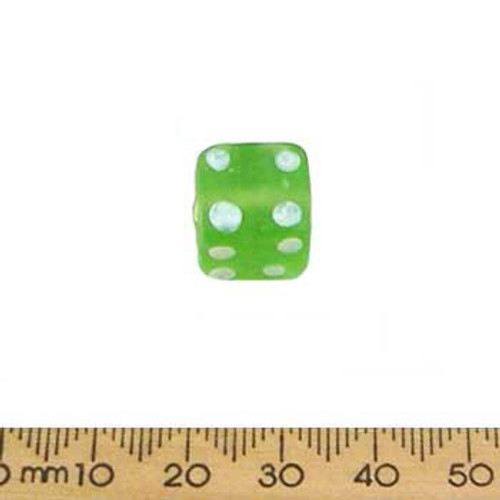 Bright Green Frosted Glass Cube Beads