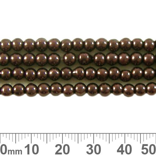 CLEARANCE 4mm Copper Glass Pearl Strands