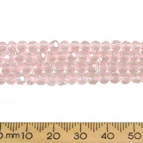 Dusky Pink 4mm Round Glass Crystal Strands